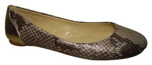 Saks Fifth Avenue Leather Snakeskin lavender, burgundy & gold Flats