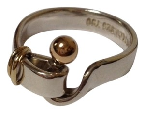 Tiffany & Co. Tiffany & Co. Hook Design Ring Silver 925 & 18k Yellow Gold, size 6.5. Comes with a pouch.