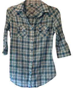 7 For All Mankind Button Down Shirt Turquoise plaid