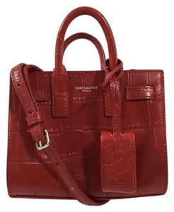 Saint Laurent Crocodile Embossed Tote in Red