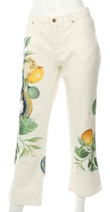 Roberto Cavalli Snake Embellished White Rc.ej0807.01 Boot Cut Jeans