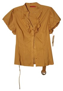 Elle Belted Ruffled Button Down Shirt gold