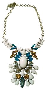 New Crystal Bib Necklace Silver Tone White Blue Long J1302