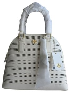 Tory Burch Dome White Birch Hand Robinson Leather Tb Nwt New With Tags Satchel in Birch White/Luggage
