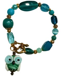 Other New Handmade Owl Charm Bracelet Glass Blue Green Gold Tone J1303