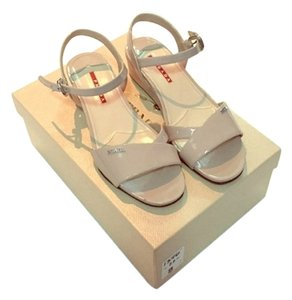 Prada Quarter Strap Patent Leather Wedge Beige Nude Sandals
