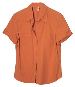 St. John Tab-sleeve Button Down Shirt orange