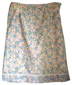 Gap Lace-trimmed Flower-print Yellow Blue Pink Skirt Mult-Colored