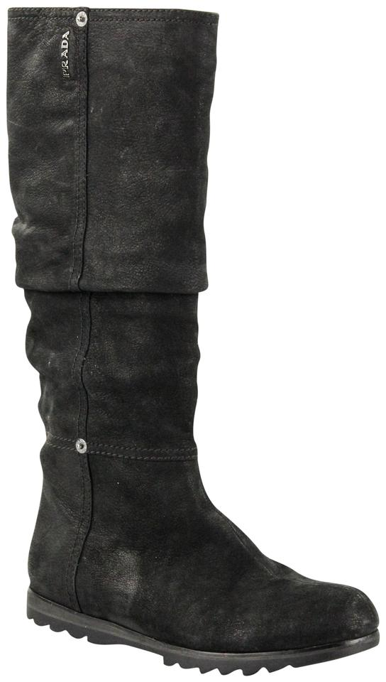 Prada Black Ruche Suede Suede Ruche Tall Boots/Booties f4a239