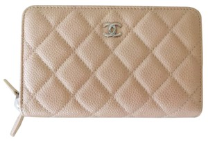 Chanel Zip Around Wallet Beige Caviar