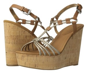 Coach Light Gold Pearl Metallic/Ginger Leather Sandals