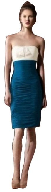 Item - Ivory / Ocean Blue 8107 Short Night Out Dress Size 2 (XS)