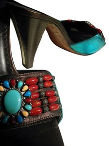 Donald J. Pliner Brown with Multi-Color Beads Sandals
