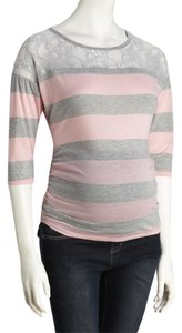 Mom & Co Striped Lace 3/4 Sleeve Maternity Tee