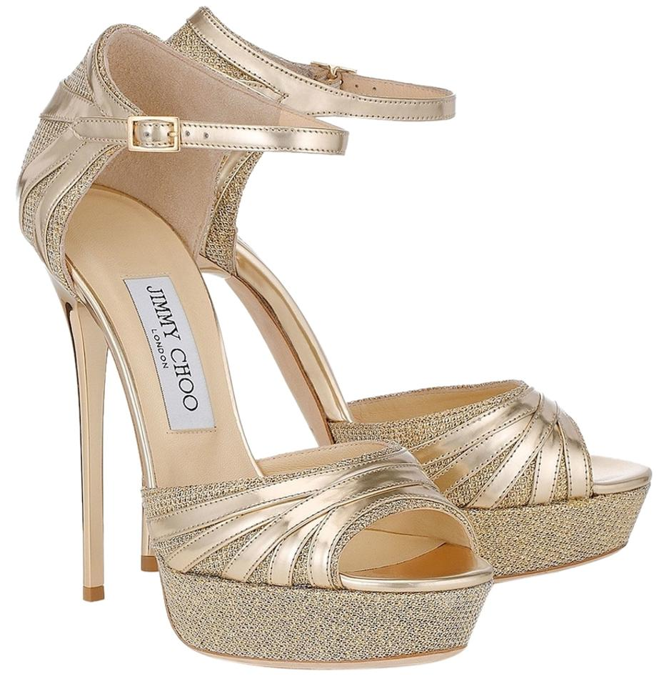 Jimmy Choo Gold Pumps Lame Glitter and Mirror Leather Pumps Gold Platforms 08bfc5