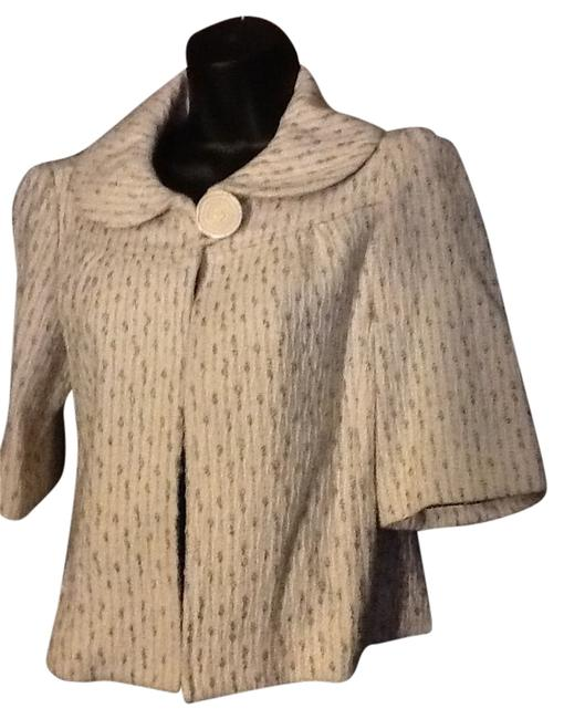Item - Off White Gray and Black Cropped Jacket Blazer Wool Rayon Unique Design Poncho/Cape Size 6 (S)