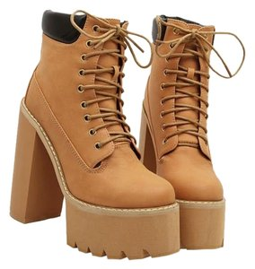 Chunky Heel Winter Fall Tan Boots