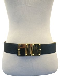 BCBGMAXAZRIA Black Belt with Gold Buckle