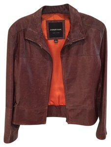 Andrew Marc Leather Motorcycle Brown Leather Jacket