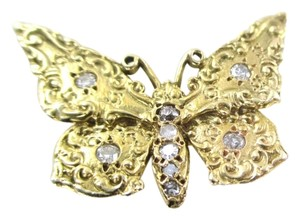 18KT SOLID YELLOW GOLD PIN BUTTERFLY 9 DIAMONDS 0.25 CARAT 4.1 GRAMS NO SCRAP