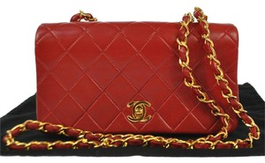Chanel AUTH CHANEL CC LOGOS QUILTED LEATHER CHAIN SHOULDER BAG RED VINTAGE GHW WOC