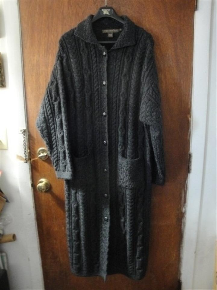 Inis crafts womens inis long cable knit sweater s small coat for Inis crafts ireland sweater