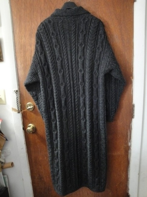 Inis crafts dark charcoal grey gray womens long cable knit for Inis crafts ireland sweater