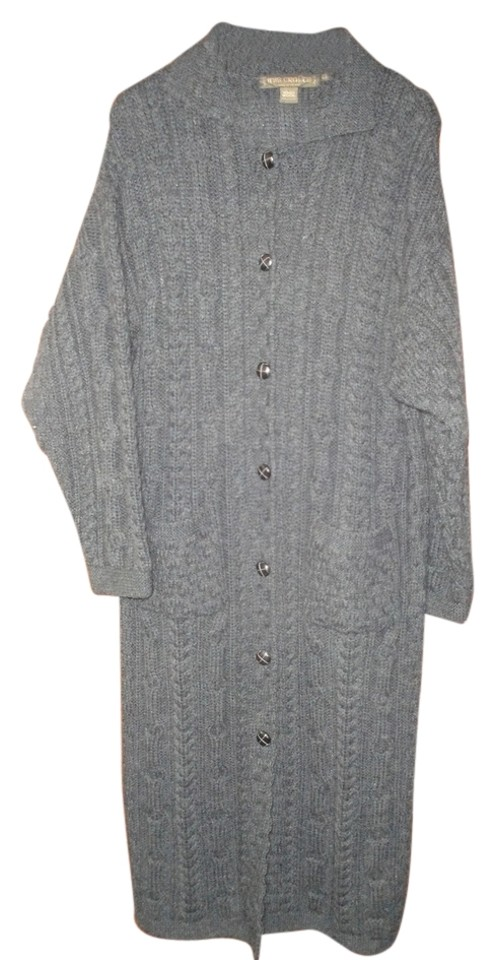 Inis Crafts Dark Charcoal Grey Gray Womens Long Cable Knit Sweater