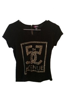 Body Central Gold Zipper Party Night Out Chic Casual Metallic T Shirt Black