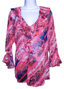 Jones New York Sheer Machine Washable Top Pink