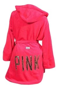 Victoria's Secret Victorias Secretmlhooded Luxury Spa Robe Supersoft Plush Hot Pink Gold Bling