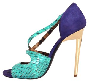 Roberto Cavalli Teal Leather Suede Heels purple Sandals