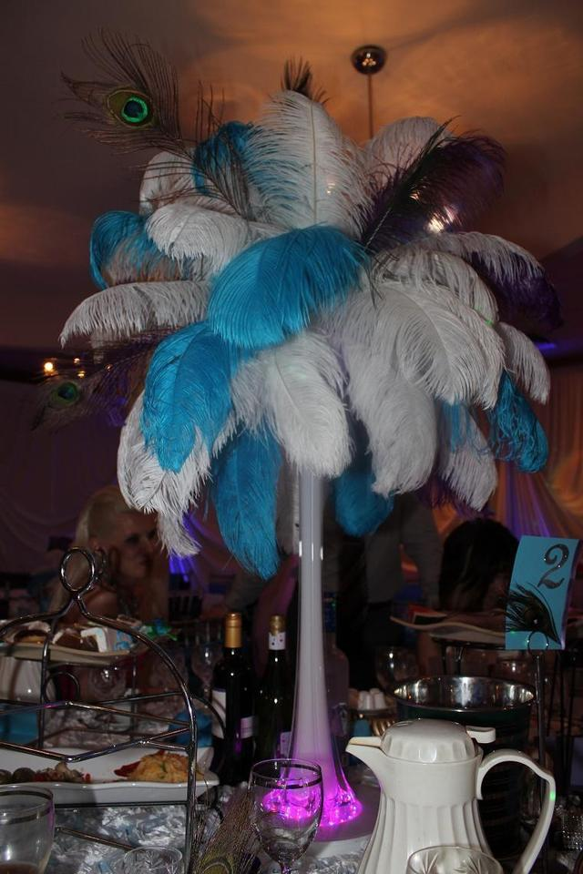 Ostrich peacock feather wedding centerpieces