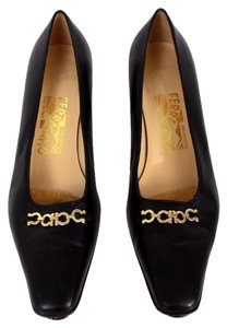 Salvatore Ferragamo Leather Gold Embellishment Close Toed Old Low Heel Black Pumps