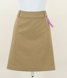 New York & Company Gold Buckle Short Skirt Tan