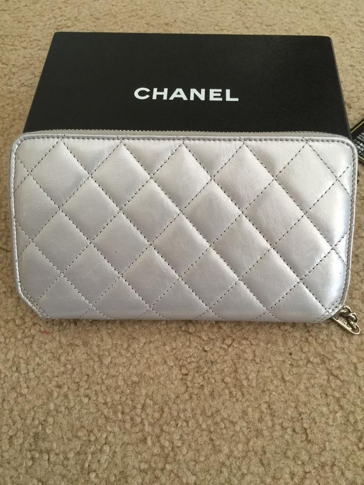 6a3fbf52d0ab Chanel Silver Metallic Lambskin Leather Zippy Quilted Wallet - Tradesy