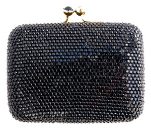Judith Leiber Hard Case Evening Crystal Black Clutch