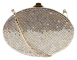 Judith Leiber Judith Evening Gold Chain Crystal Silver Clutch