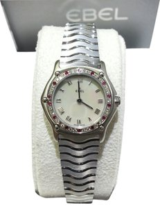 Ebel EBEL Authentic Ladies Classic Wave Mini Watch E9157116 With Diamonds & Rubies