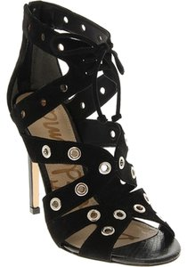 Sam Edelman Lace Up Heels Booties Peep Toe Heels Black Formal
