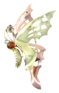 Other 14KT SOLID YELLOW & ROSE GOLD PIN BUTTERFLY 1 GENUINE DIAMOND RUBIES RUBY JEWEL
