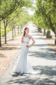 David's Bridal Lace Overlay Charmeuse Wedding Dress With Train (swg400) Wedding Dress