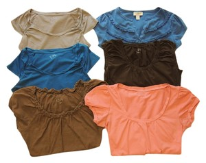 Ann Taylor LOFT Brown Blue Top Blue, Brown, Salmon, Grey