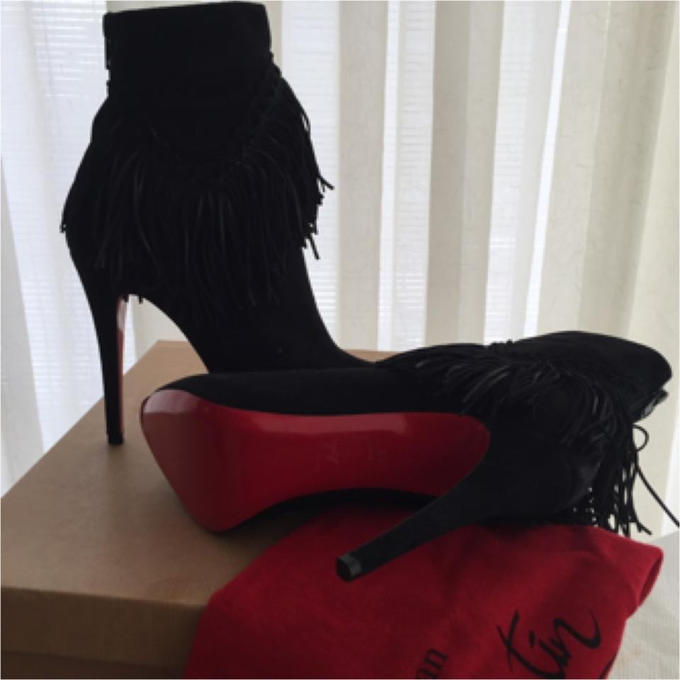 louis vuitton red bottom shoes for men - Christian Louboutin Rom 120 Fringed Suede Ankle Black Boots on ...