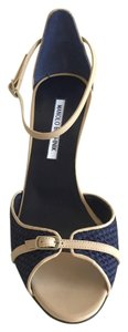 Manolo Blahnik navy & beige Sandals