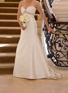Ines Di Santo Off White Silk Mikado Maria Wedding Dress Size 4 (S)