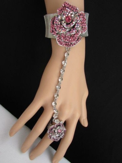 Other Women Silver Hand Chain Pink Rhinestones Rose Flower Slave Ring