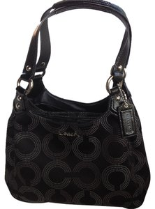 Coach Embossed Horse And Carriage Edie In Canvas Shoulder Bag