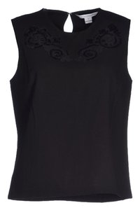 Diane von Furstenberg Dvf Date Night Embroidered Top Black