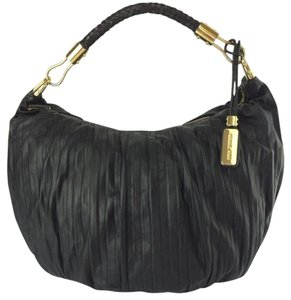 Michael Kors Skorpios Crescent Pleated Leather Hobo Bag